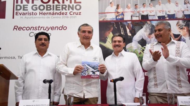 En 2020 ya no habrá baches en Villahermosa, promete Evaristo Hernández durante su primer informe de gobierno