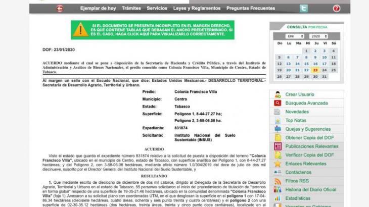 Publica DOF acuerdo mediante el cual ponen a disposición de SHyCP el predio de la Pancho Villa