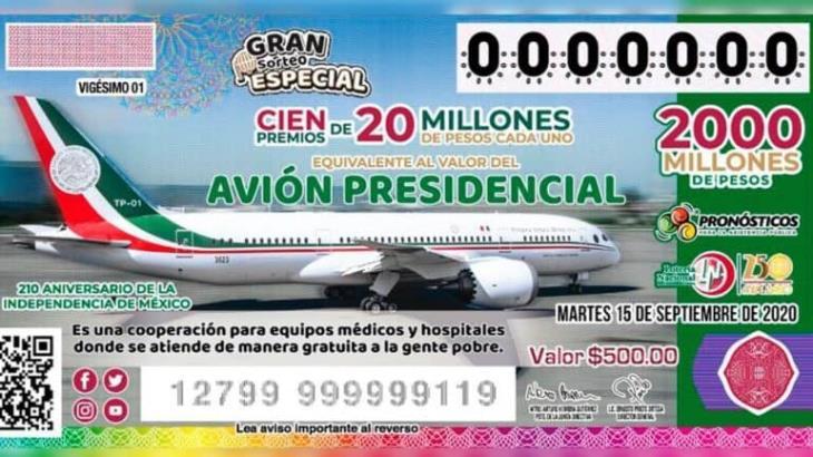 Empresarios comprometen mil 500 MDP para rifa de avión presidencial