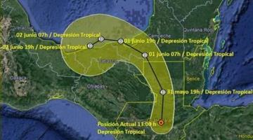"""""""Amanda"""" permanecerá por lo menos hasta el miércoles en territorio Tabasqueño; podría ocasionar afectaciones"""