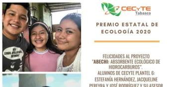 Otorgan Premio Estatal de Ecología a alumnos del Plantel 6 del CECYTE por el proyecto ´ABECHI´