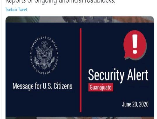 Estados Unidos alerta a connacionales evitar transitar por Guanajuato, tras fin de semana violento