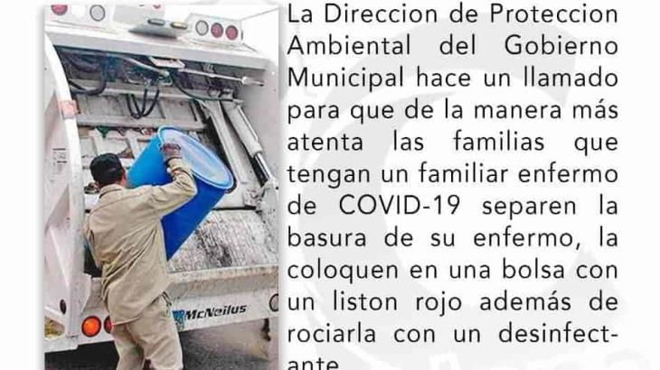 Pide Ayuntamiento de Cárdenas desinfectar y marcar con listón rojo basura de pacientes Covid