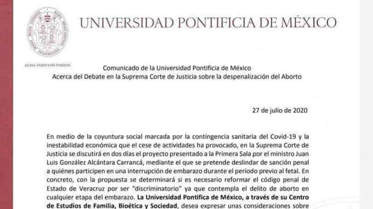 Alerta Universidad Pontificia de México, que de aprobarse despenalizar el aborto en Veracruz, se extenderá a las demás entidades