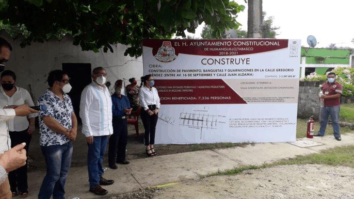 Inauguran en Huimanguillo obras de agua potable y pavimentación