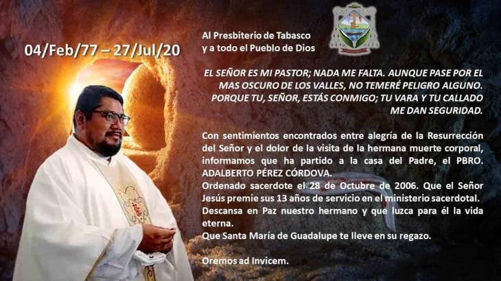 Fallece tercer sacerdote tabasqueño por Covid-19; era originario de Centla