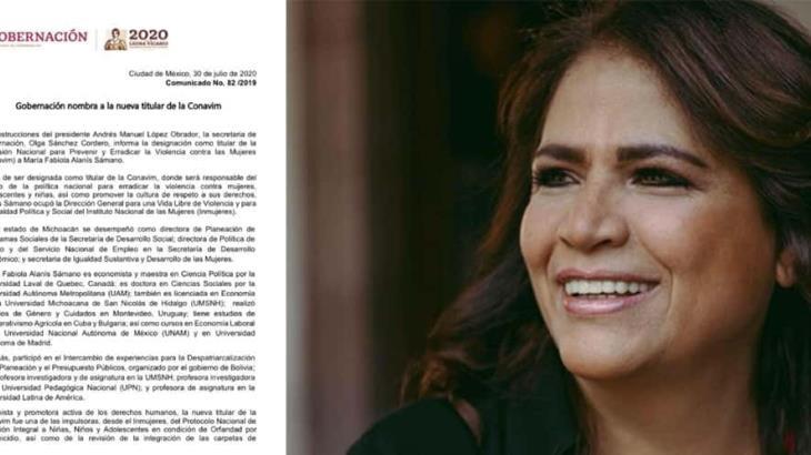 Nombran a María Fabiola Alanís Sámano, nueva titular de la CONAVIM