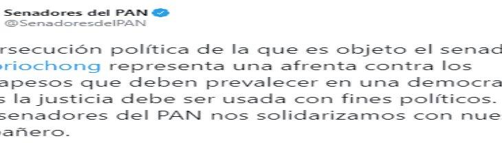 Se solidariza el PAN con Osorio Chong; advierte una afrenta contra los contrapesos