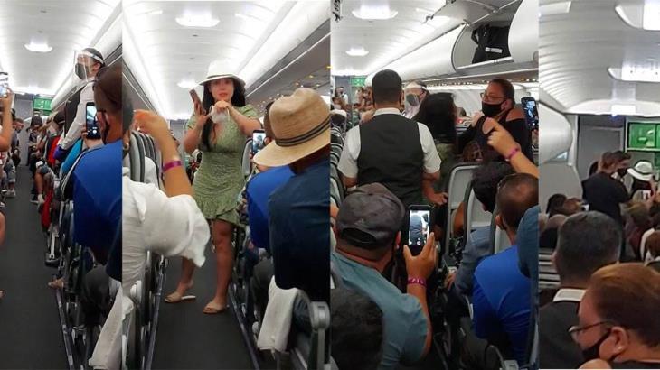 Llaman Lady COVID a mujer que se quita el cubrebocas y arma escándalo en vuelo comercial