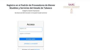 Habilitan registro en línea de proveedores de bienes muebles y servicios de Tabasco