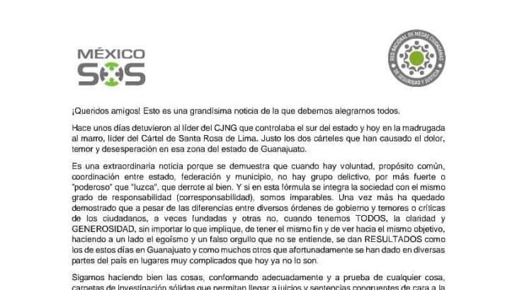 """Juntos se puede combatir al crimen organizado, dice """"México SOS"""""""
