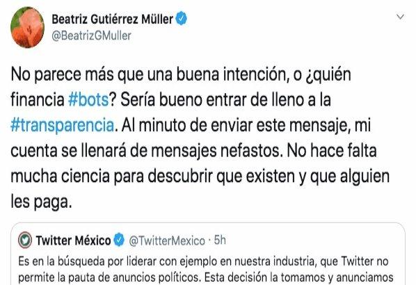 Pide Beatriz Gutiérrez Müller a Twitter entrarle de lleno a la transparencia