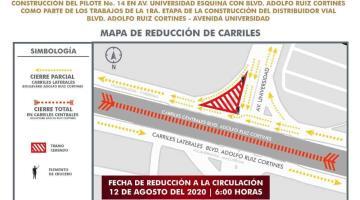 Anuncia PEC reducción de carriles por construcción del Distribuidor Universidad (Aquí los detalles)