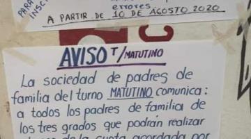 Escuelas exhiben número de cuenta para que padres de familia paguen las cuotas