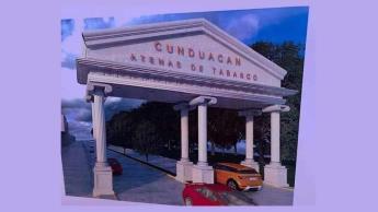 """Exhibe alcaldesa de Cunduacán """"portal griego"""" que daría la bienvenida a visitantes del municipio"""