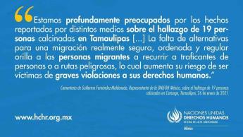 Compara ONU-DH hallazgo de cuerpos calcinados en Tamaulipas con masacres de NL