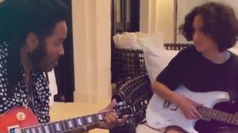 Hija de JLO y Marc Anthony toma clases de guitarra con Lenny Kravitz en su cumpleaños
