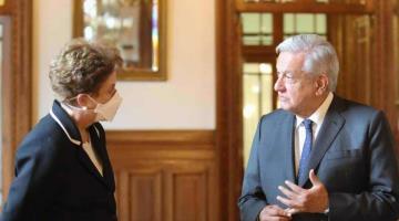 Recibe AMLO a Dilma Rousseff en Palacio Nacional