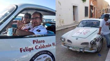 Chocan Karmann Ghia de Felipe Calderón en el que compite en el Rally Maya 2021