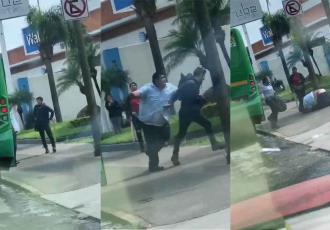 Chofer de una unidad de transporte se agarra a golpes con un pasajero en Jalisco