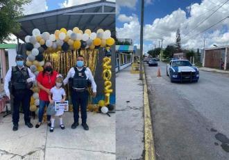 Policías de Tamaulipas escoltan a niña en caravana de graduación