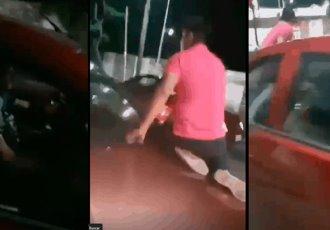 Automovilista en Villahermosa se sube al cofre de otro vehículo para reclamar un supuesto choque