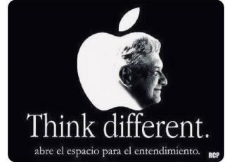Acusan a Morena de plagiar logotipo y campaña de Apple para promover a AMLO