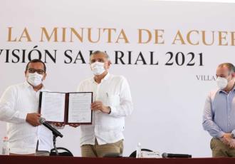 Firman Gobierno de Tabasco y SUTSET incremento salarial de 2.6% y otras prestaciones para la base trabajadora