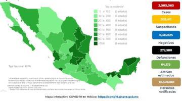 Registra México más de 12 mil nuevos contagios de COVID-19 en las últimas 24 horas