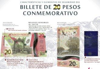 Presenta Banxico nuevo billete conmemorativo de 20 pesos