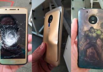 """""""Salva"""" Hulk a hombre... tras un asalto; bala se impacta en su celular y funda del superhéroe resiste"""